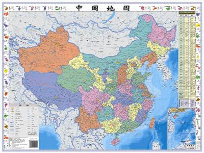 地图外排有世界各国的国旗和世界各国的面积,人口,货币和主要语言等