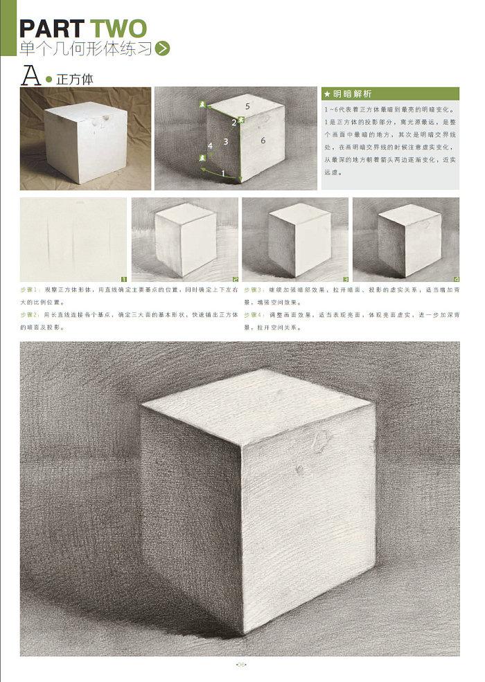 透视基础知识  ★单个几何形体练习  a.正方体  b.