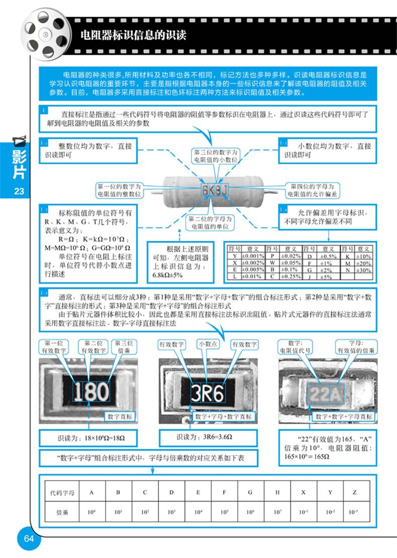 第1集 揭秘电子元器件检测仪表使用技能1 影片1 指针万用表的结构特点2 影片2 指针万用表量程的调整6 影片3 指针万用表测量数据的读取8 影片4 指针万用表使用前的准备12 影片5 指针万用表的使用方法14 影片6 数字万用表的结构特点18 影片7 数字万用表量程的调整22 影片8 数字万用表测量数据的读取26 影片9 数字万用表附加测试器的使用方法30 影片10 数字万用表使用前的准备32 影片11 数字万用表的使用方法34 第2集 揭秘电子元器件拆卸焊接技能39 影片12 电烙铁的种类特点40 影