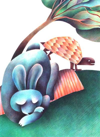 山树风景彩铅画