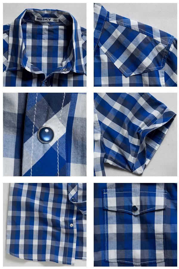 mbsky蓝色天空男款方格子短袖衬衫 0212202百搭单品
