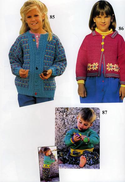 最新款儿童毛衣配色花边